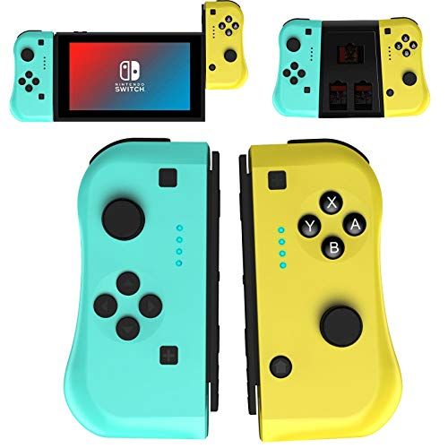 JAMSWALL Joy Con Controller Compatible for Nintendo Switch, Wireless Controllers Compatible for Switch Lite, Replacement Compatible for Switch Joy Pad, Motion Control, Yellow and Green with Grip