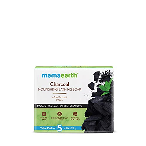 Mamaearth Charcoal Nourishing Soap With Charcoal and Mint for Deep Cleansing – 5x75g