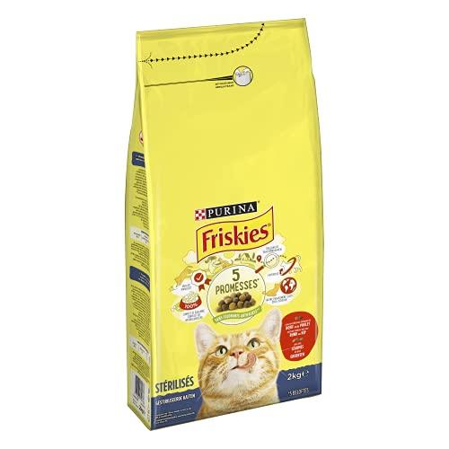 FRISKIES Chat - Pour Chats Stérilisés - Au Bœuf et aux Légumes - 2kg - Lot de 6