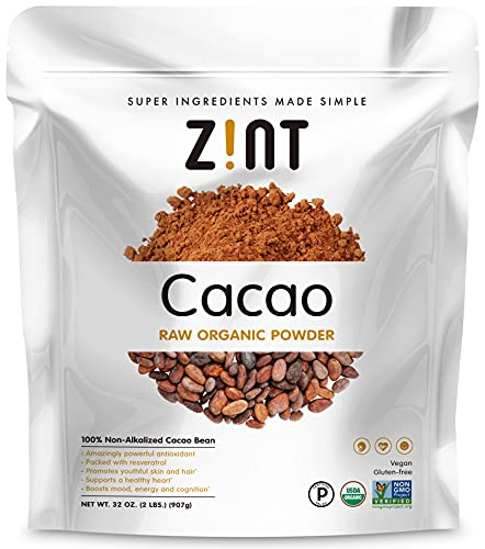 Zint Organic Cacao Powder (32 oz): Paleo-Certified, Organic, Non GMO, Anti Aging Antioxidant Superfood, Gluten Free Cocoa Cacao Beans, Pure Delicious Chocolate Essence, 32 Ounce