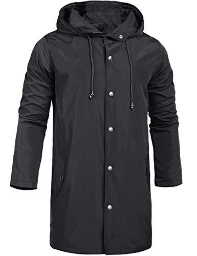 ZEGOLO Men's Raincoats Waterproof Jacket with Hood Windbreaker Breathable Lightweight Outdoor Long Rain Jacket for Men Black Large