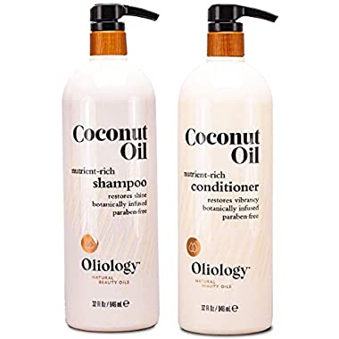 Oliology Nutrient Rich Coconut Oil Shampoo & Conditioner Combo Pack – Helps Restore Damaged Hair   Provides Intense…