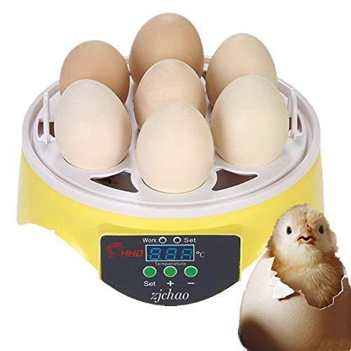 PROBEEALLYU Mini huevo incubadora de control automático de la temperatura para huevos con pantalla digital LED, herramienta de incubación para pato, pájaro, pollos (7 huevos de la UE)