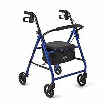 """Medline Steel Foldable Adult Transport Rollator Mobility Walker with 6"""" Wheels Blue"""