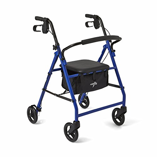 "Medline Steel Foldable Adult Transport Rollator Mobility Walker with 6"" Wheels, Blue"