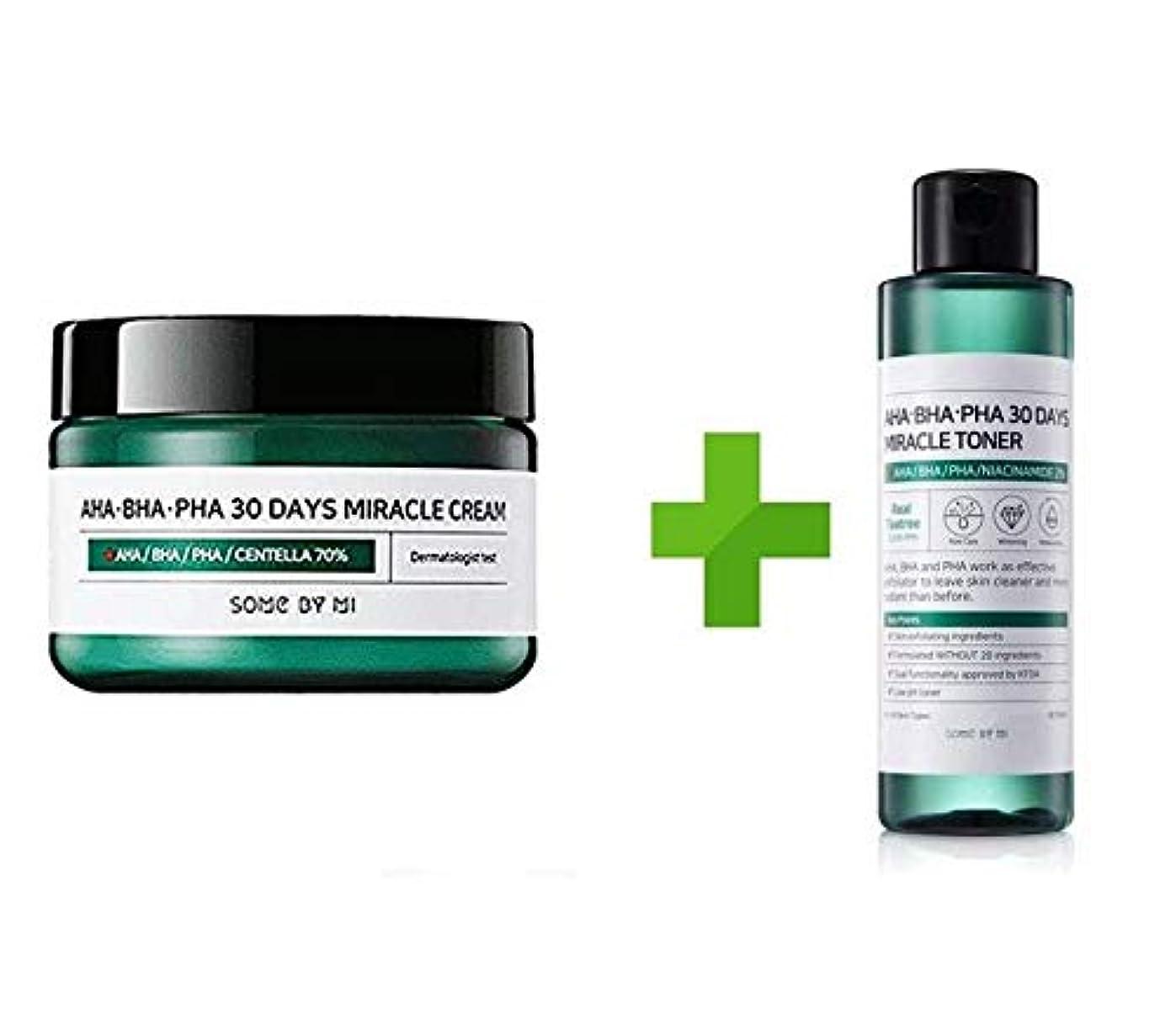 黙大陸バングSomebymi AHA BHA PHA Miracle Cream (50ml + Toner 150ml)Skin Barrier & Recovery, Soothing with Tea Tree 10,000ppm for Wrinkle & Whitening/Korea Cosmetics [並行輸入品]