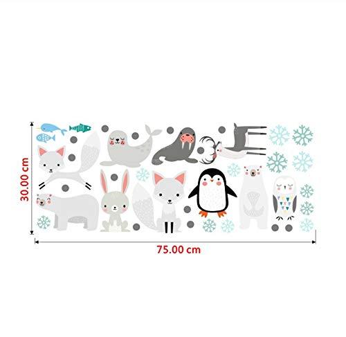Cute Bear Rabbit Sea Lion Penguin Fox Vinyl Wall Stickers Cartoon Animal Wall Decals for Kids Rooms Bedroom Home Decor