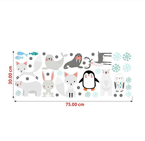 Cute Bear Rabbit Sea Lion Penguin Fox Vinyl Wall Stickers Cartoon Animal Wall Decals for Kids Rooms Bedroom Home Decor