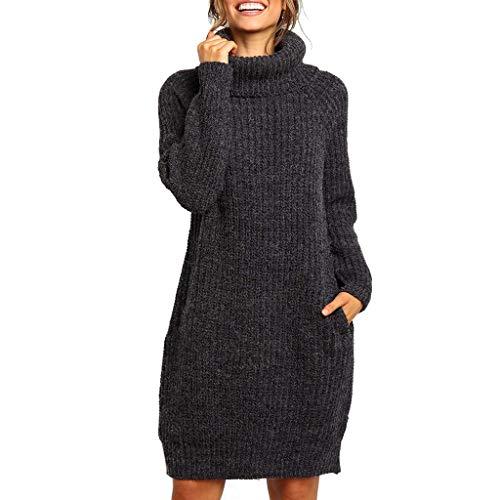 Pullover Damen Lang Winter Plus Size Solid O Neck Langarm Rollkragenpullover Strickpullover Top
