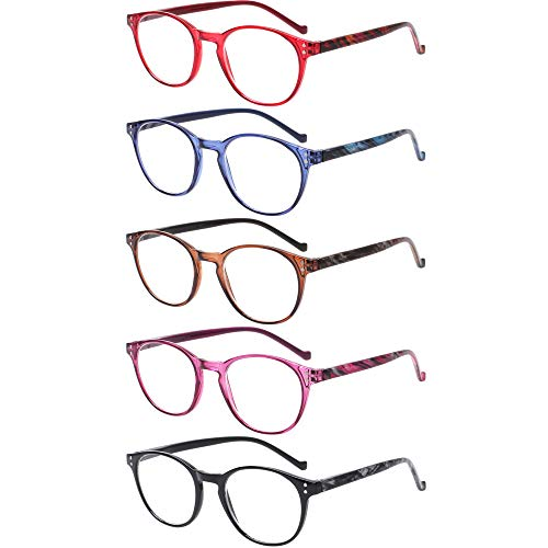 5 Pairs Reading Glasses - Standard Fit Spring Hinge Readers Glasses for Men and Women (Black Purple Red Blue Brown, 3.00)