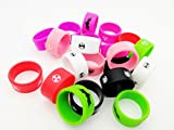 10 PCS Mixed Color Silicone Vape Rings, Mixed Vape Bands, 26mm Vape Rings Protect your RBA RTA RDA Mechanical Mods Tank Rebuildable Atomizer, Random Design and Color (Big Wide Band)
