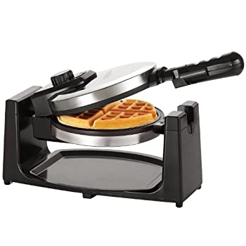 BELLA Classic Rotating Non-Stick Belgian Waffle Maker Perfect 1  Thick Waffles PFOA Free Non Stick Coating & Removeable Drip Tray for Easy Clean Up Browning Control Stainless Steel