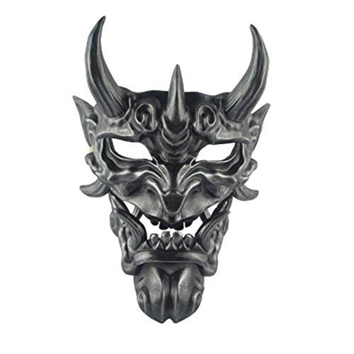 GWLDV Samurai Maske Oni Demon Softair Maske Half Face Hannya Kabuki Gesicht Maske Monster Evil Prop Maske für maskenbälle Ball/Party/Halloween/CS Krieg Spiel/BB Gun Schwarz,C
