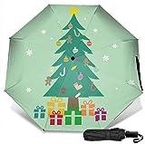 Paraguas de viaje resistente al viento con protección UV (Navidad con árbol decorado y cajas de regalo)