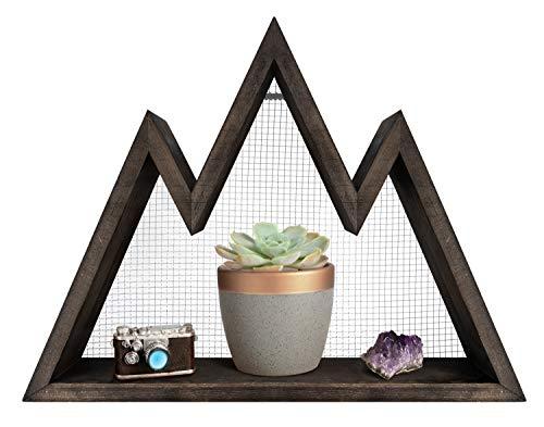 Mkono Mountain Shelf, Floating Wall Shelf Rustic Wood Display Shelving for Crystal,Photo,Plants, Woodland Nursery Decor, Modern Geometric Wall Art Home Decor for Bedroom,Living Room, Office