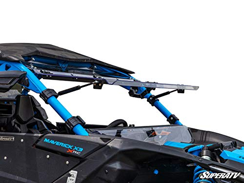 SuperATV Heavy Duty Flip Windshield for Can-Am Maverick X3 900 / Turbo/X RS/X DS/X MR/MAX (2017+) - Can Be Set To 3 Different Positions!