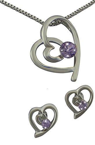 Hanessa Juego de joyas para niñas, collar y pendientes chapados en plata, piedras de estrás y corazón con corazones, regalo para la esposa o novia