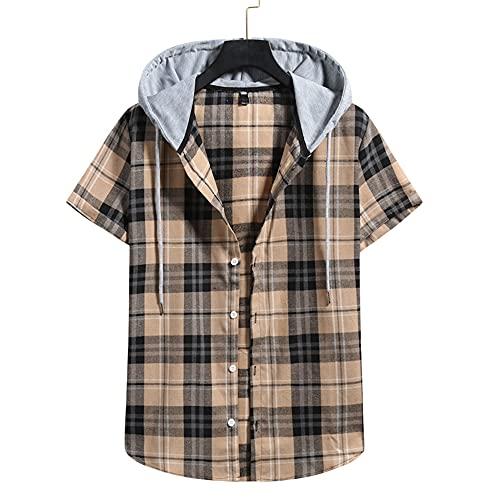 XWLY Camisa Deportiva Hombre Cuello V Ajuste Regular T-Shirt Moda Clásica Estampado Cuadros Correr Shirt Botón Placket Causal Shirt Cómodo Que Absorbe Respirable Capucha T-Shirt H-Khaki S