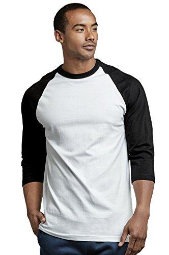 TOP PRO Men's 3/4 Sleeve Casual Raglan Jersey Baseball Tee Shirt (XL, Black/White - 1)