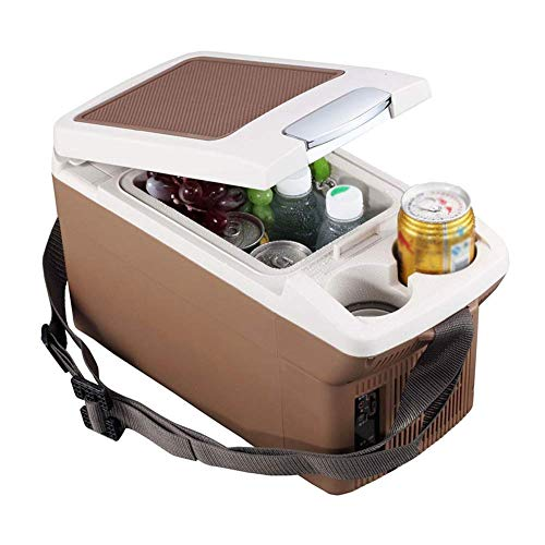 Koelkast auto, Mini koelkast 12v 220v, vriezer Warmer Cooler Box draagbare elektrische Koelbox Outdoor Camping Picnic Travel 6 L (Kleur: Bruin-A) LOLDF1 (Color : Brownb)