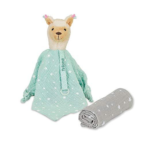 Sterntaler Set Sogni d'oro Zoo, Lotte Il Lama, Pupazzo di pezza con porta-ciuccio e fazzoletto, Verde menta