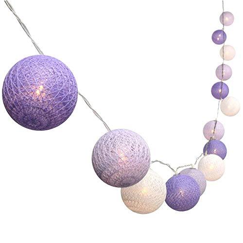 Treer LED Lampion Lichterkette Kugeln Baumwolle, Weihnachtsbaum Weihnachtskugeln Batteriebetrieben für Festlich Hochzeiten Feier Geburtstag Weihnachten Garten Dekorative (3M 20 Bälle,Lila)