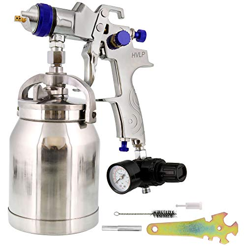 TCP Global Brand HVLP Spray Gun with Cup & 1.8mm Needle & Nozzle Professional Series for Auto Paint, Primer & Topcoat Lacquer Applications One Year Warranty