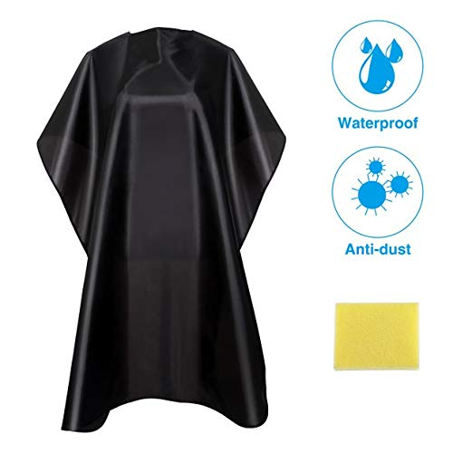 Nooa Waterproof Barber Styling Cape - Professional Salon Cape for Men, Unisex Black Hair Cutting Cape with Adjustable N, 35.5 x 55 inches Hairdresser Cape for Hair Treatment - Cutting/Coloring/Perming