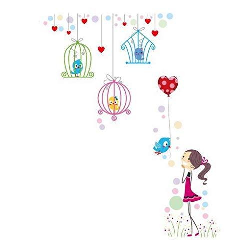 Mignon Animaux de dessin animé Stickers muraux Papillons Fleurs Papier peint amovible Décoration de maison PVC Art Mural Bébé Garçons Filles Enfants Chambre à coucher Décalques Cuisine, multicolore