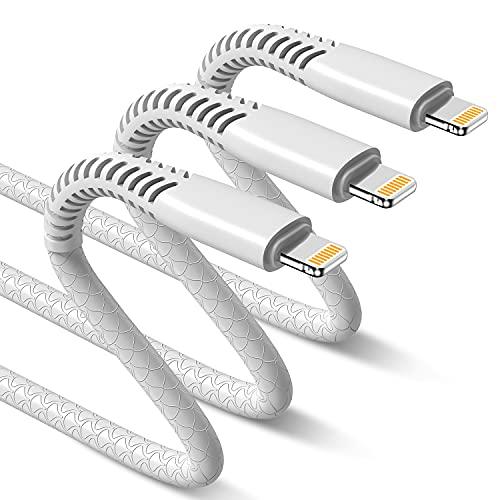 ライトニングケーブル「2m×3本」Apple認証 USB同期&充電 長いアップル充電ケーブル 急速充電 データ転送 Lightningケーブル 根元強化 断線防止 柔軟性 高耐久 iPhone 充電コード iPhone 12 / 12 Pro / 11 / XS MAX/XS /8/8Plus/7/7 Plus/6/5/iPad、iPod Touch 対応(2m、 白い)