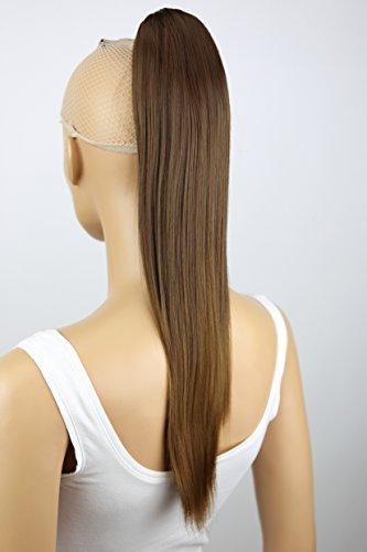 PRETTYSHOP 50cm Haarteil Zopf Pferdeschwanz Haarverlängerung Glatt Braun H152