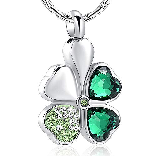 constantlife Cremation Jewelry Memorial Urn Necklace for Ashes Lucky Four-Leaf Clover Design Stainless Steel Pendant Keepsake (Silver+Dark Green)