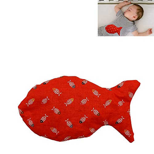 Thermal cushion made out of cherry bones 'Red Fish' ideal for babies and young children, hot/cold treatment, 19X15cm, 100% cotton, contains 170gr of cherry bones.