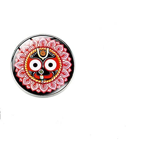 Vintage India Broche Religioso Pin Para Mujeres Hombres Cara Bonita Flor De Loto Cabujón De Cristal Broche Ropa Joyería