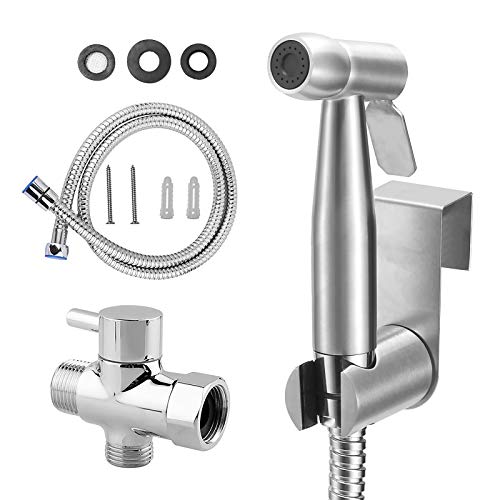 Handheld Bidet Sprayer for Toilet, Wall/Toilet Mount Stainless Steel Baby Cloth Diaper Sprayer Set for Personal Hygiene Cleaning, Feminine Wash and Pet Bathing