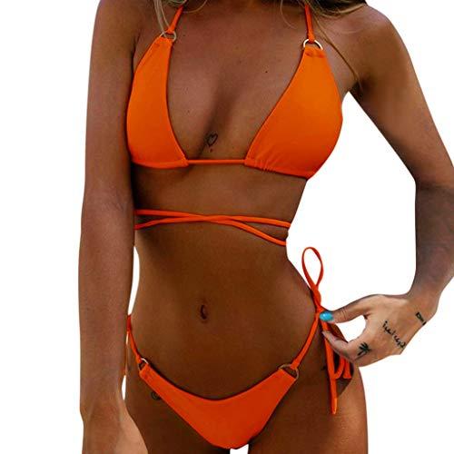 Overdose Damen Sexy String Bikini Badeanzug Brazilian Style Triangel BH Bikini Set Cami Neckholder Rückenfrei Strand Bademode Swimsuits Beachwear