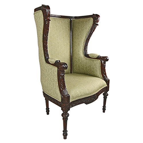 """Design Toscano Louis XVI Wingback Armchair, 30"""" x 23"""" x 45"""", walnut"""