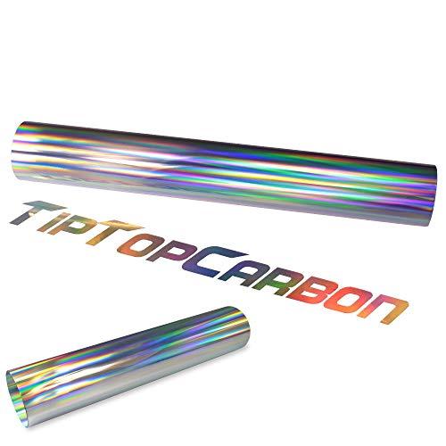 Rapid Teck® (7€/m² Clear Back Plottfolie Oilslick Hologramm Silber Glitter Effekt Folie Plotterfolie | Meterware mit 100 cm Breite