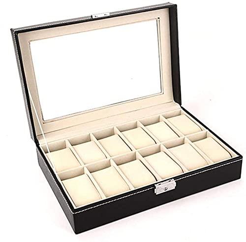 T.T-Q Organizador de exhibición de 12 relojes, caja de reloj para hombre, vitrina de joyería, cuero, caja de almacenamiento de reloj para almacenamiento y exhibición 30 * 20 * 8 cm