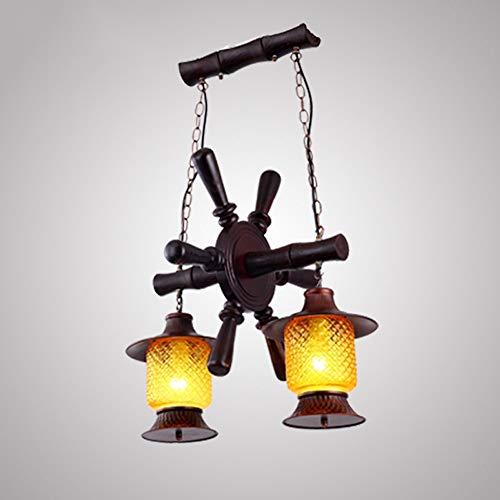 PHLPS Luz American Country antiguo restaurante de la lámpara de estilo europeo de hierro forjado Mediterráneo araña retro de madera maciza de techo personalidad creativa Barra de luz de la lámpara pen