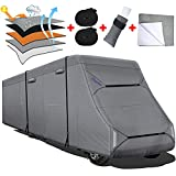 Fonzier Heavy Duty Class C RV Cover Upgraded 5 Layers Top Anti-UV Camper Cover for 29'-32' Motorhome with 4 Gutter Spout Covers Tongue Jack Cover 2 Windproof Straps