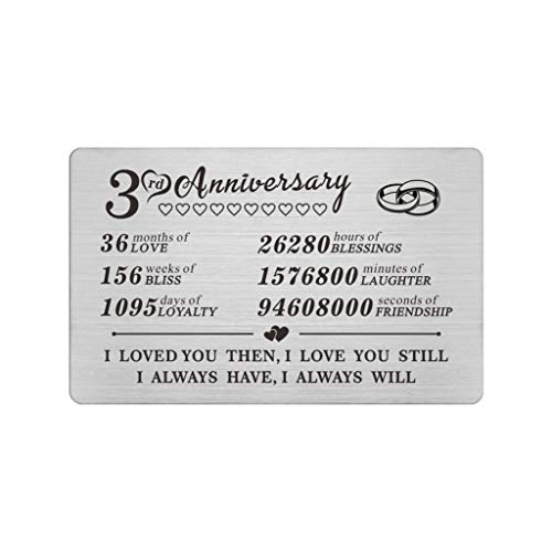 3 Year Anniversary Keepsake Gifts Wallet Card for Him Men Husband Boyfriend, Third 3rd Yr Wedding Anniversary Card Gift for Wife Her Unique