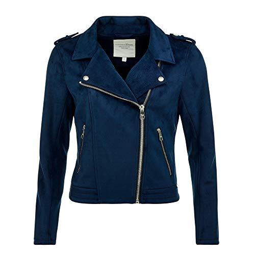 Tom Tailor Denim Womens Fake Wildleder Biker Faux Leather Casual Jacket, 14531-Shiny Royal, M