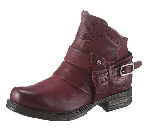 A.S. 98 Biker-Boots Coole Echtleder Rocker-Stiefel für Damen mit Zierriemen Stiefeletten Boots Rot, Größe:35