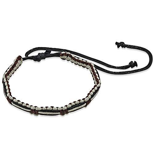 Pulsera trenzada de cuerda – marrón negro y blanco – nudo corredizo ajustable negro