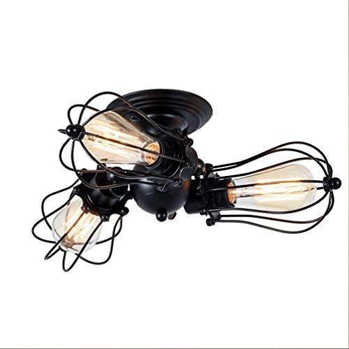 SGWH Designer Vintage Plafondlamp, zwart, rond, ijzer, radiator, lampenkap, hanglamp, creatief 3 kroonluchter voor eetkamer, keuken, lak, 360 graden draaibaar