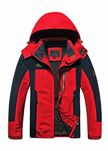 MAGCOMSEN Mens Waterproof Jacket Raincoat Windbreak Jackets Climbing Waterproof Jacket Breathable Jackets Sports Coat Travel Running Rain Jackets Red Grey