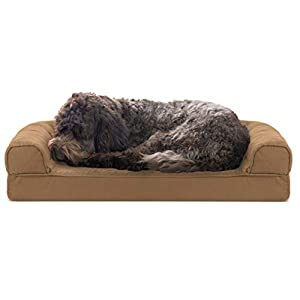 Furhaven Pet Dog Bed – Cooling Gel Memory Foam Quilted Traditional Sofa-Style Living Room Couch Pet Bed with Removable Cover for Dogs and Cats, Toasted Brown, Medium
