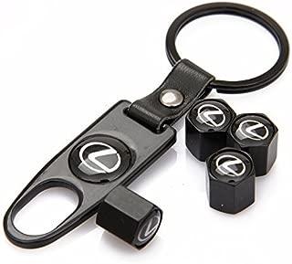 Auto sport Universal Steel (4pcs) Car Tire Valve Stem Air Caps Cover + (1pc) Keychain Fit Lexus Accessory