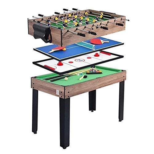 Mesa Multijuegos Multifunción 4 en 1 mesa de juegos de combo, juegos de juegos familiares que incluyen hockey sobre hielo, bolas de futbolín, ping pong y mesa de billar, excelente regalo para niños y